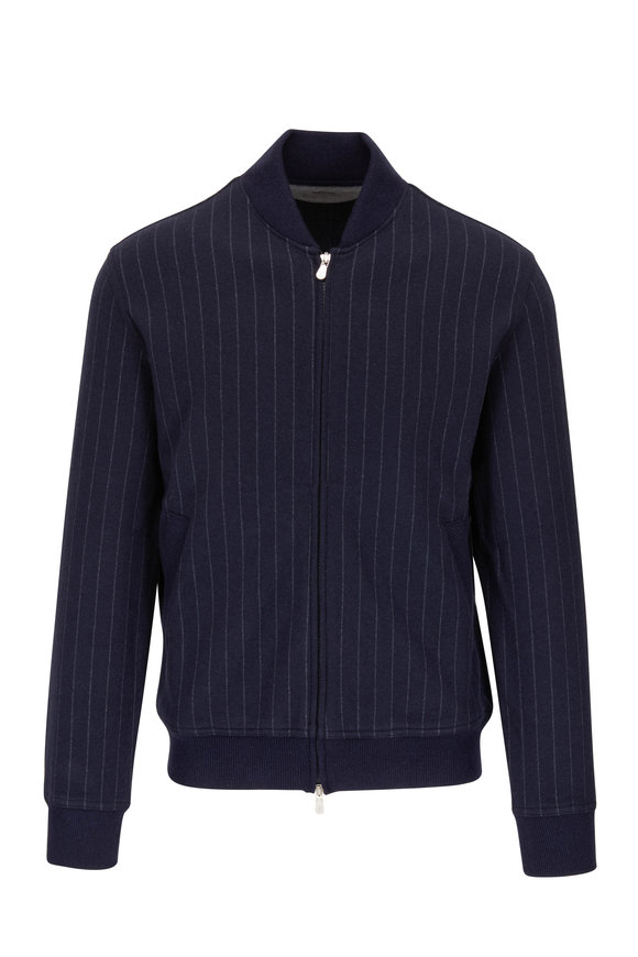 Brunello Cucinelli Navy Pinstriped Cashmere & Cotton Baseball Jacket