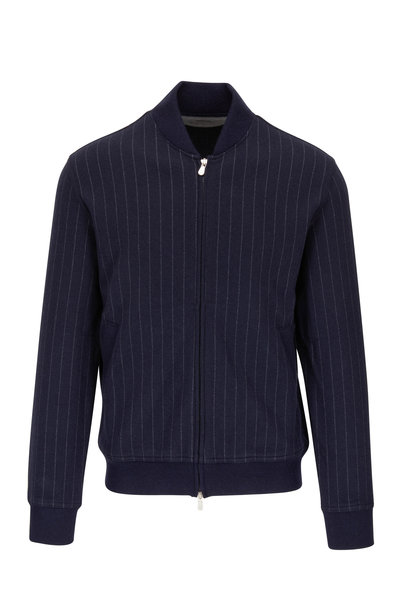 Brunello Cucinelli - Navy Pinstriped Cashmere & Cotton Baseball Jacket