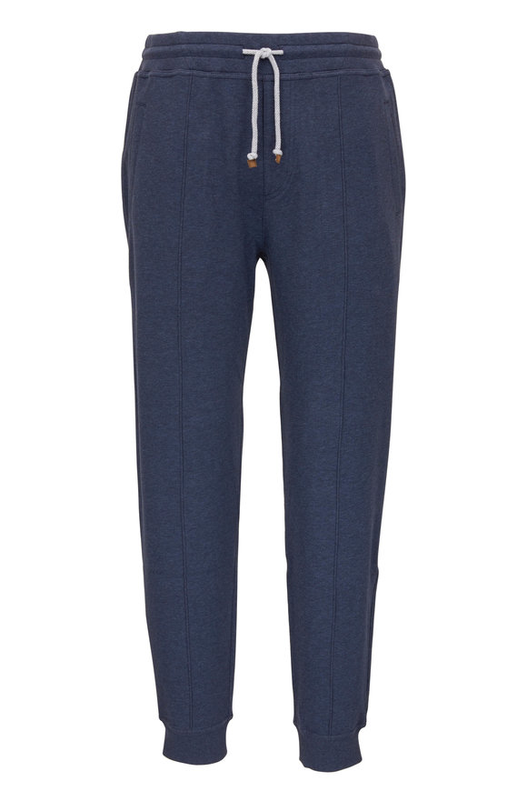 Brunello Cucinelli Denim Blue Stretch Cotton Jogger