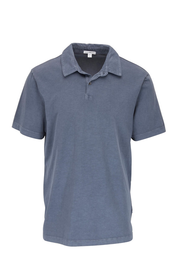 James Perse Marine Blue Jersey Knit Polo