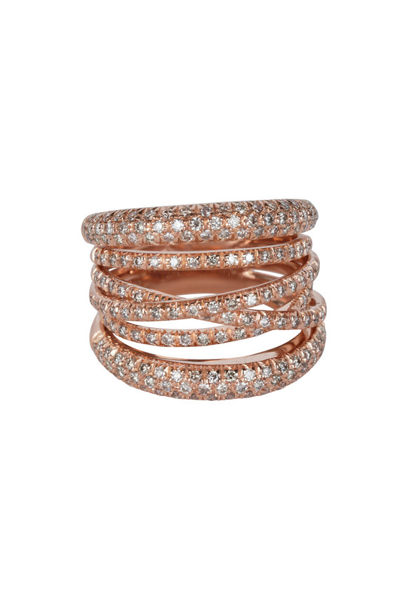 Sidney Garber 18K Rose Gold & Diamond Scribble Ring