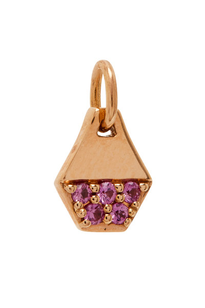 Walters Faith - Dora 18K Rose Gold & Pink Sapphire Hex Charm