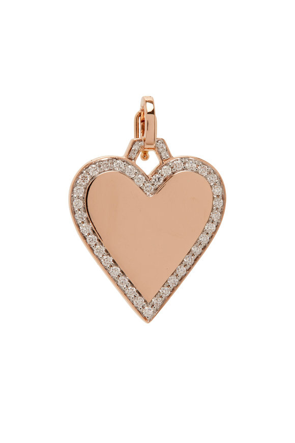 Walters Faith Dora 18K Rose Gold Diamond Edge Heart Charm