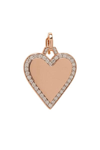 Walters Faith - Dora 18K Rose Gold Diamond Edge Heart Charm