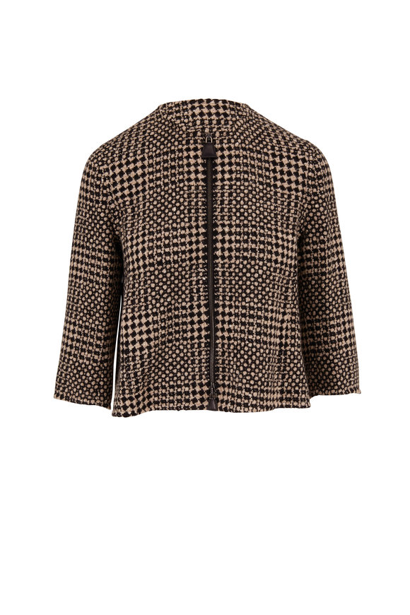 Akris Black & Natural Cashmere Tweed Boxy Jacket