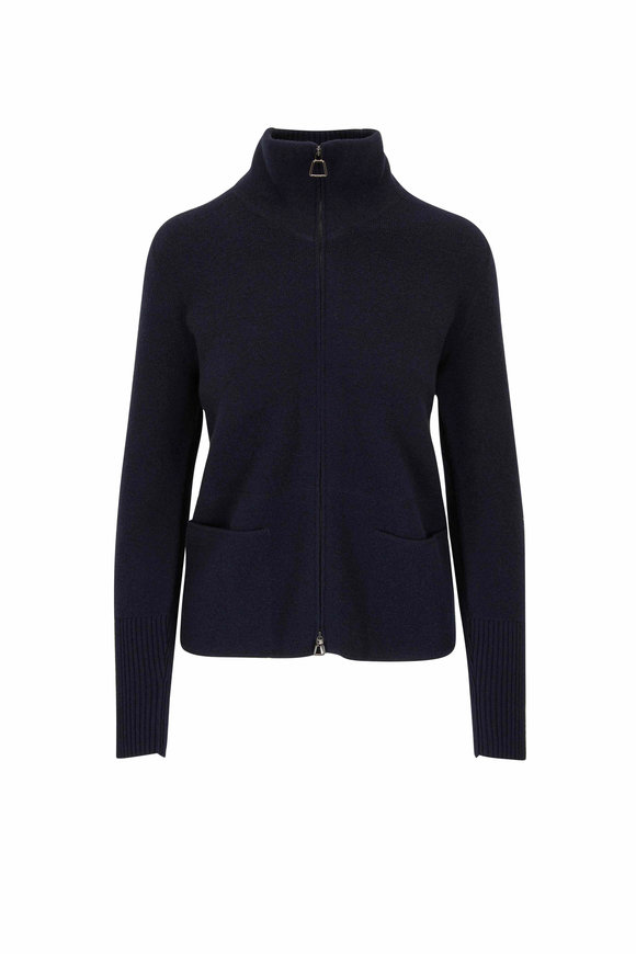 Akris Navy Blue Double-Faced Cashmere Zip Cardigan