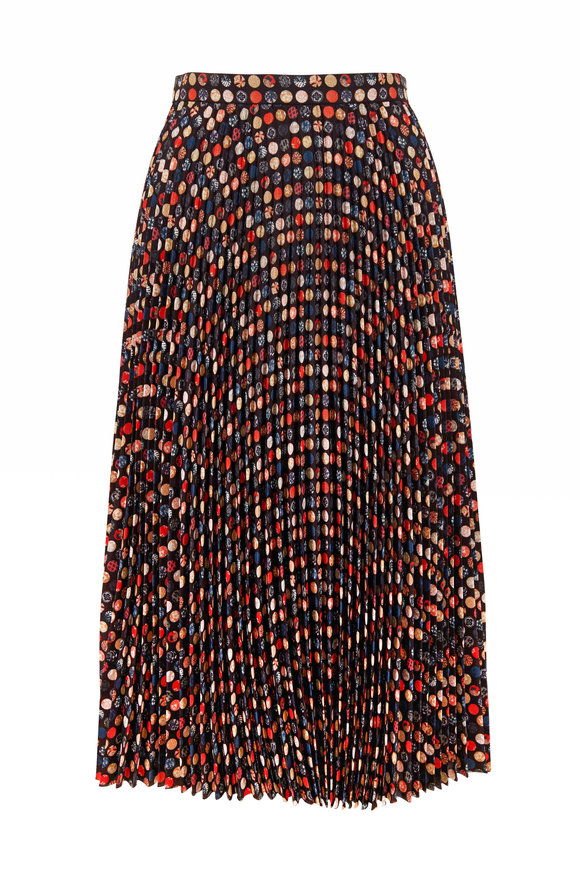 Akris Punto Black Multicolor Dot Plisse Midi Skirt