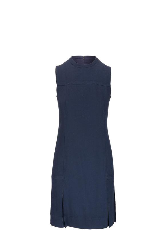 Akris Punto Navy Blue Pleated Sleeveless Shift Dress