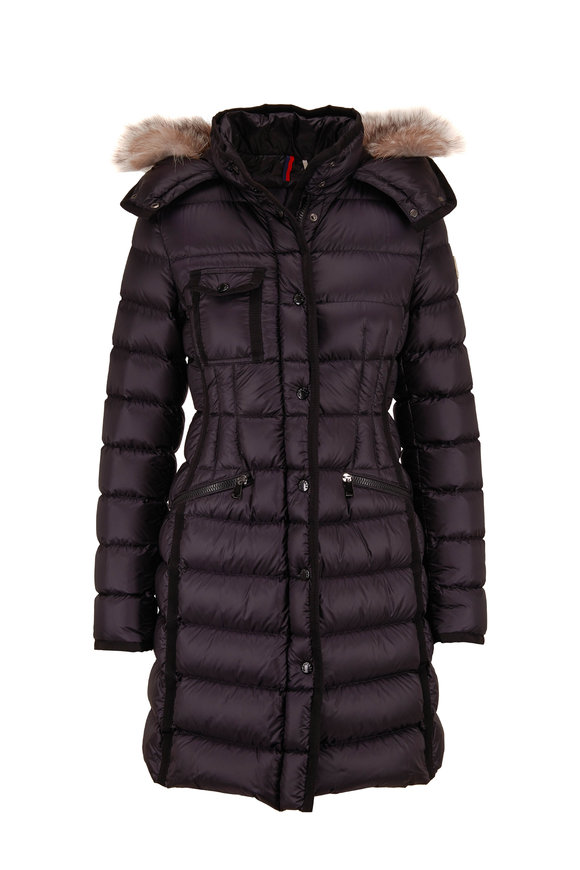 Moncler Hermifur Black Removable Fur Hood Puffer Coat
