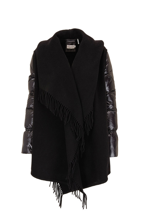Moncler Mantiall Black Wool Fringed Shawl Puffer Jacket