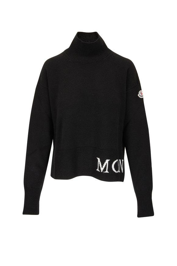 Moncler Black Wool & Cashmere Logo Mockneck Sweater