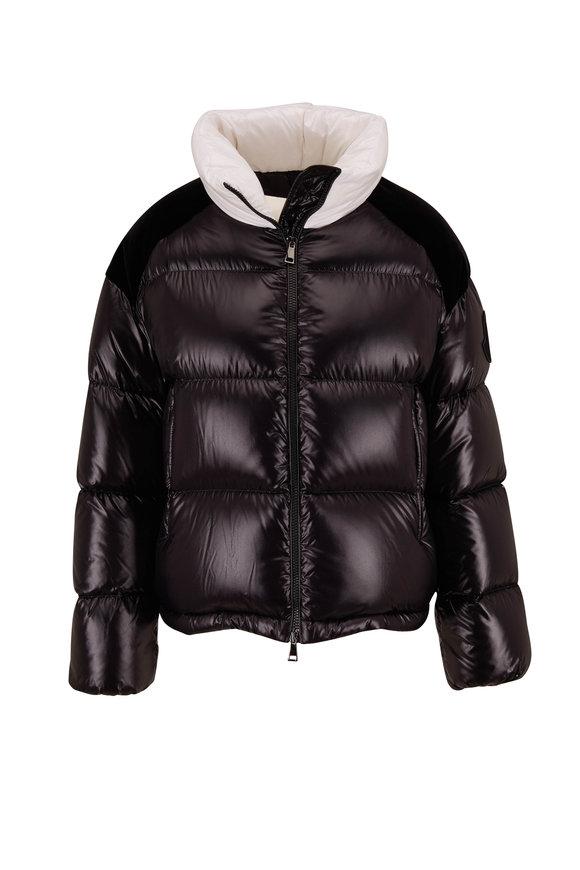 Moncler Chouelle Black Logo-Print Puffer Coat