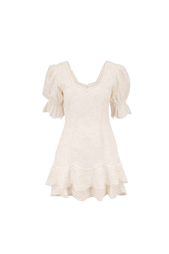 Jonathan Simkhai White Eyelet Short Sleeve Dress