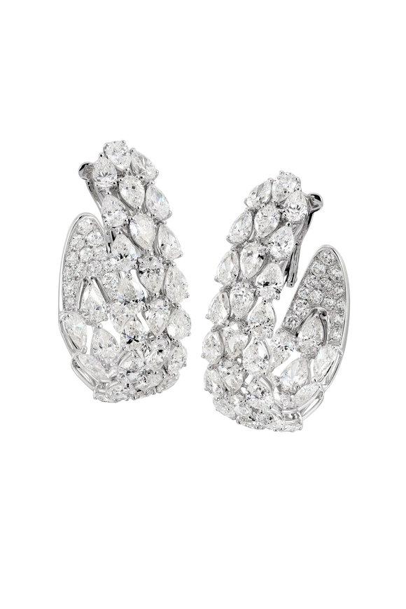 Etho Maria 18K White Gold Pear Shape Diamond Hoop Earrings