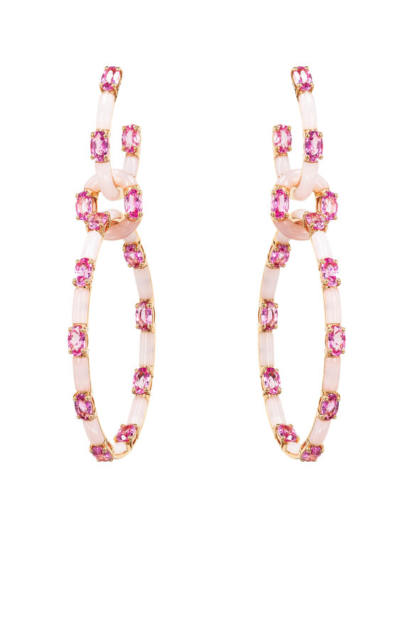 Etho Maria 18K Rose Gold Pink Sapphire & Pink Opal Earrings