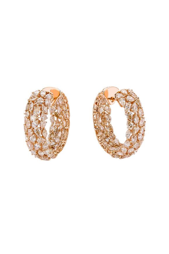 Etho Maria 18K Rose Gold Brown Diamond Hoop Earrings