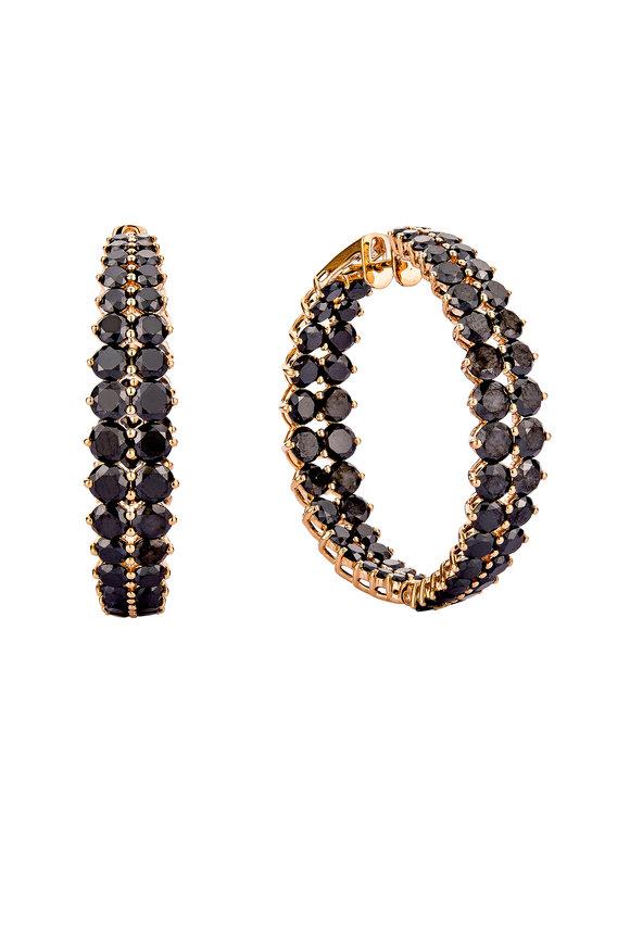 Etho Maria 18K Rose Gold Black Diamond Hoop Earrings