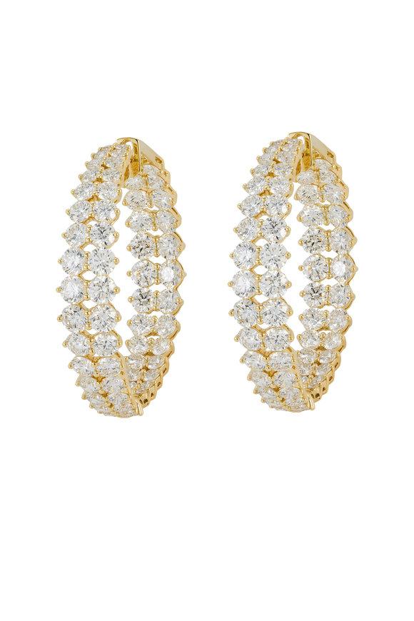 Etho Maria 18K Yellow Gold White Diamond Hoops