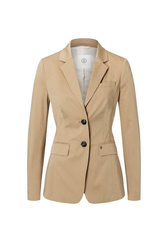 Bogner Viva Light Almond Cotton Stretch Gaberdine Jacket