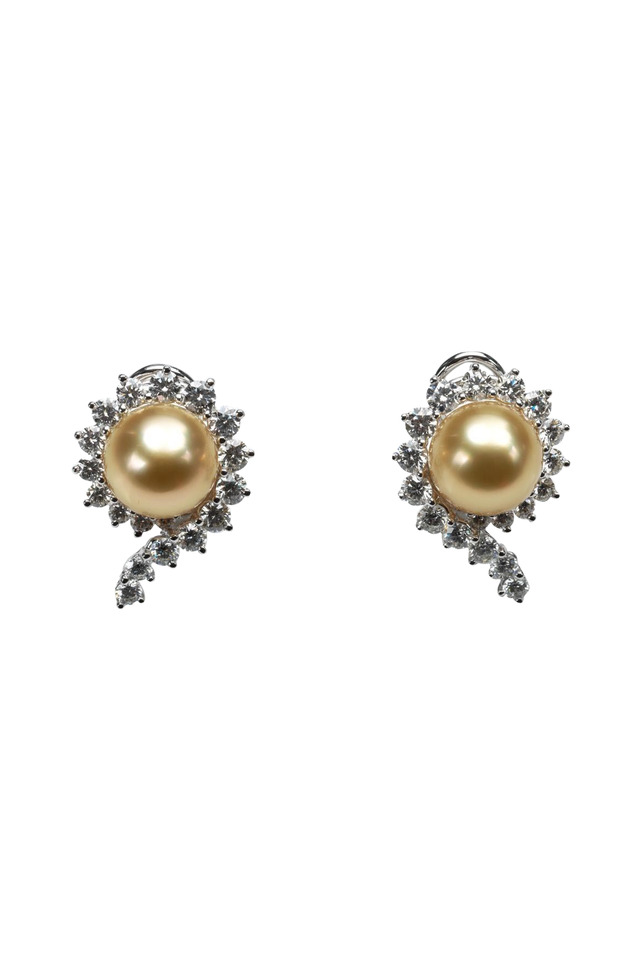 Angela Cummings Pearl & Diamond Scallop Earrings