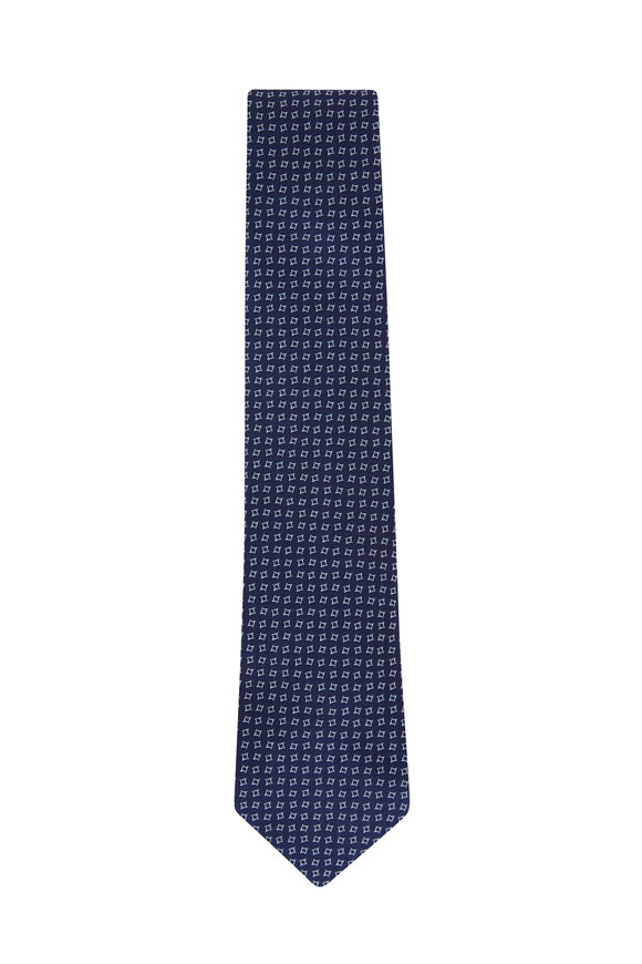 Charvet Navy & Blue Geometric Silk Necktie