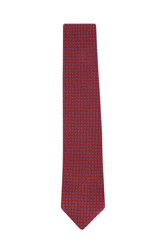 Charvet Copper & Blue Geometric Silk Necktie