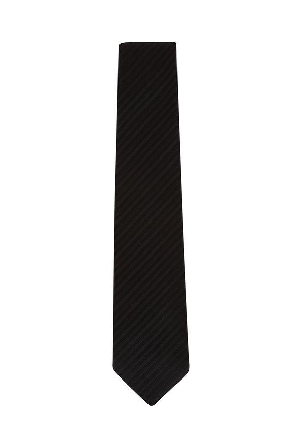 Charvet Black Stripe Silk Necktie