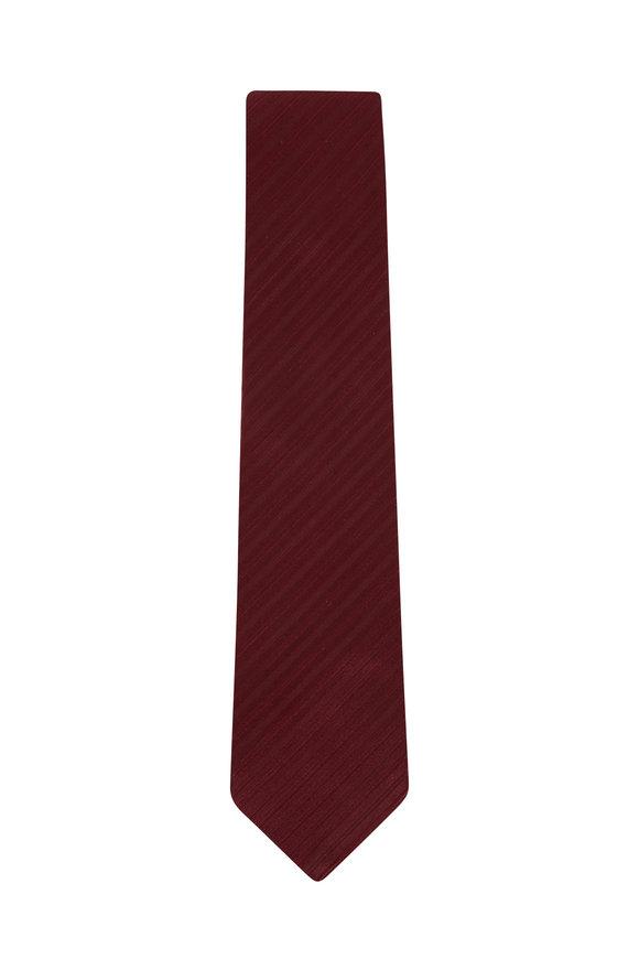Charvet Burgundy Stripe Silk Necktie