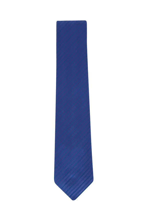 Charvet Blue Stripe Silk Necktie