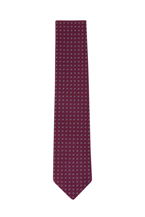 Charvet Navy& Red Diamonds Silk Necktie