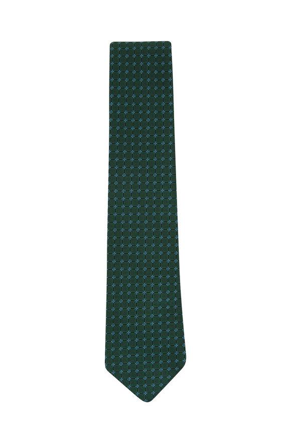 Charvet Green & Blue Diamonds Silk Necktie