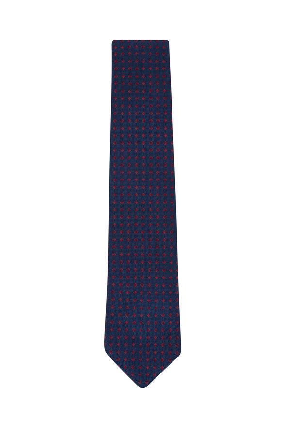 Charvet Blue & Burgundy Diamond Silk Necktie