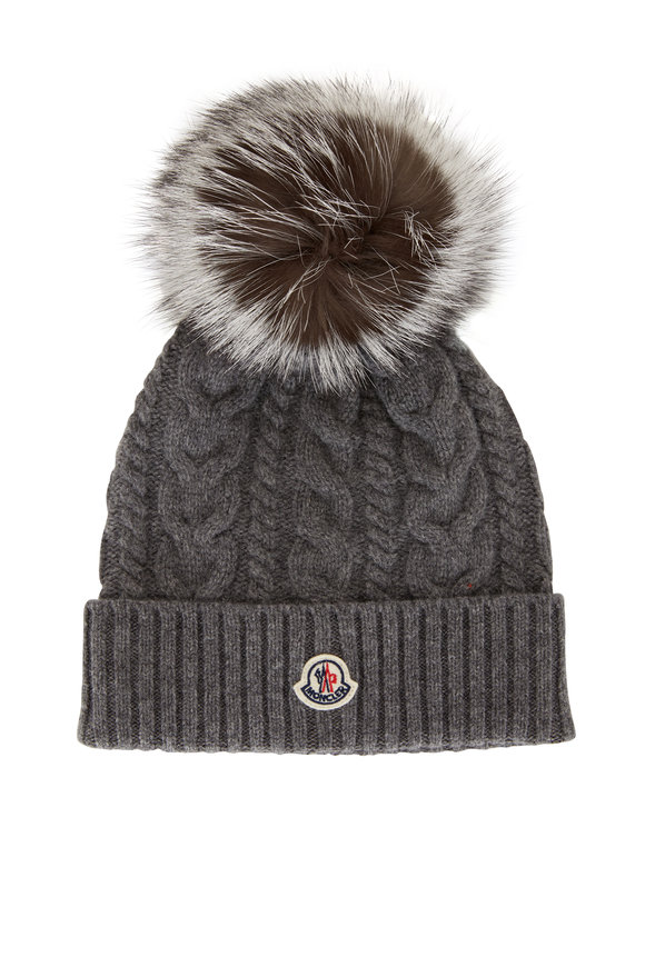 Moncler Gray Cable Knit Pom-Pom Hat