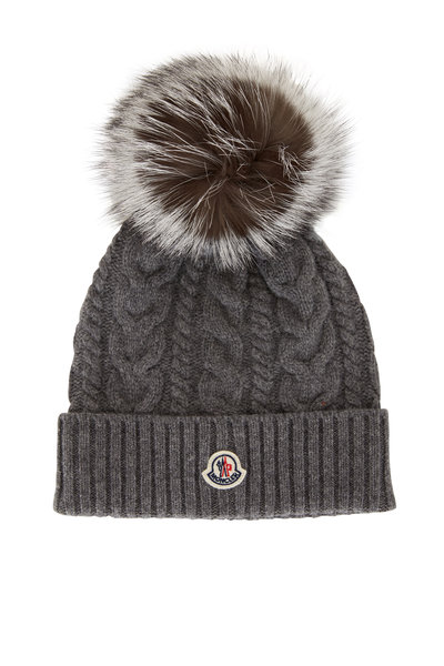 Moncler - Gray Cable Knit Pom-Pom Hat