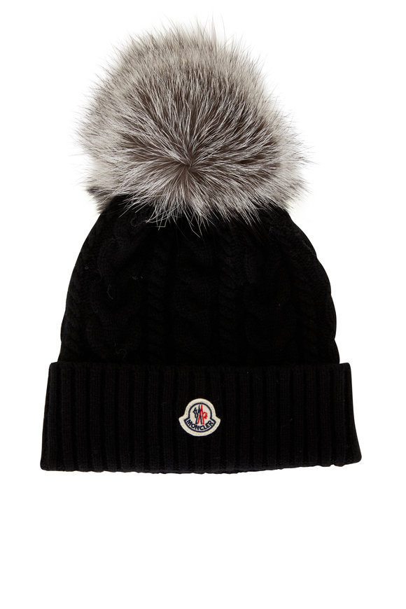Moncler Black Cable Knit Pom-Pom Hat