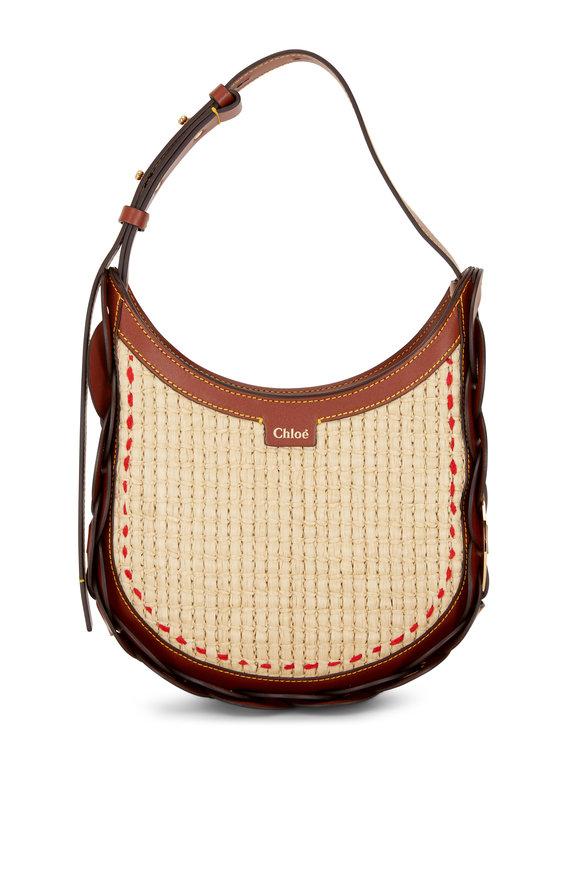 Chloé Darryl Sepia Brown Leather & Raffia Small Hobo Bag
