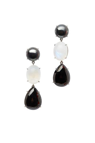 Emily & Ashley - Hematite, Black Onyx & Moonstone Drop Earrings