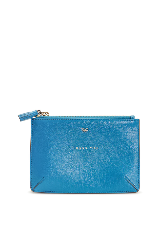 Blue Leather Thank You Pouch