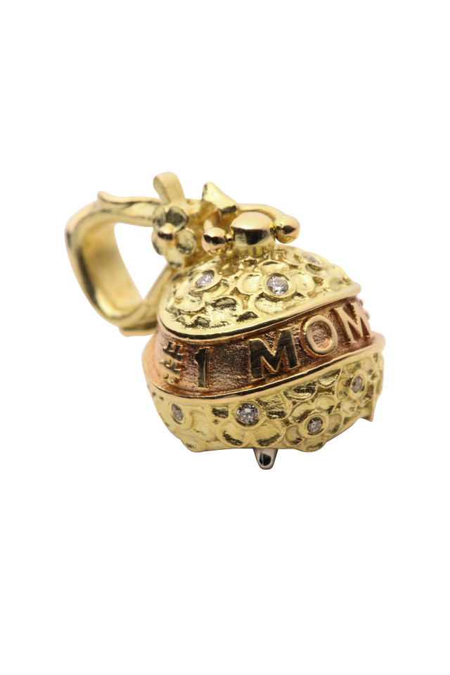 Gold Mothers Day Meditation Bell Diamond Pendant