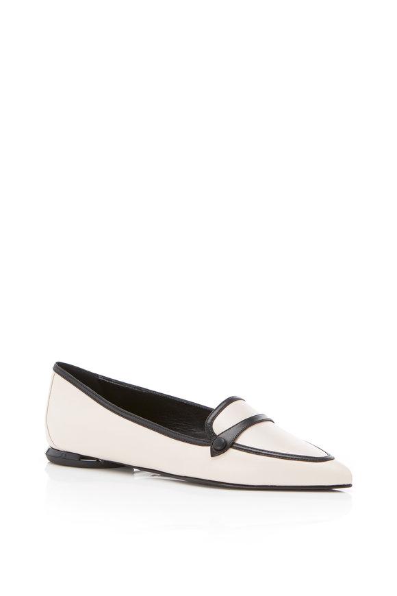 Marion Parke Natalie Vanilla Leather Flat Loafer, 10mm