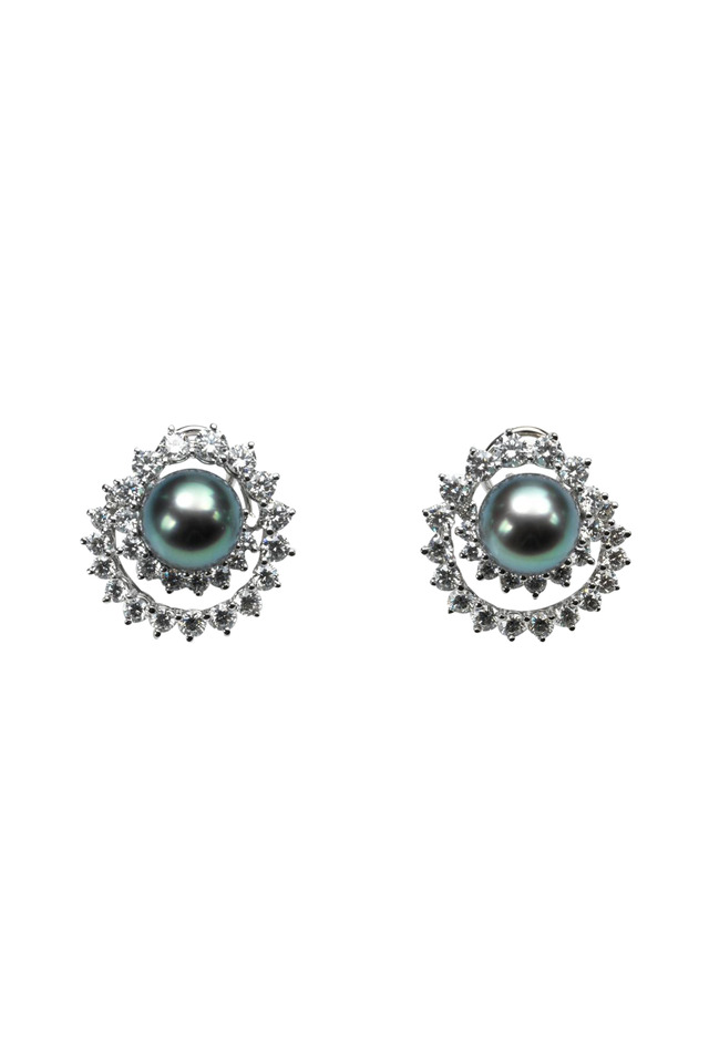 Angela Cummings Swirl Diamond Pearl Earrings