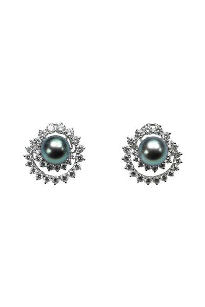 Assael - Angela Cummings Swirl Diamond Pearl Earrings