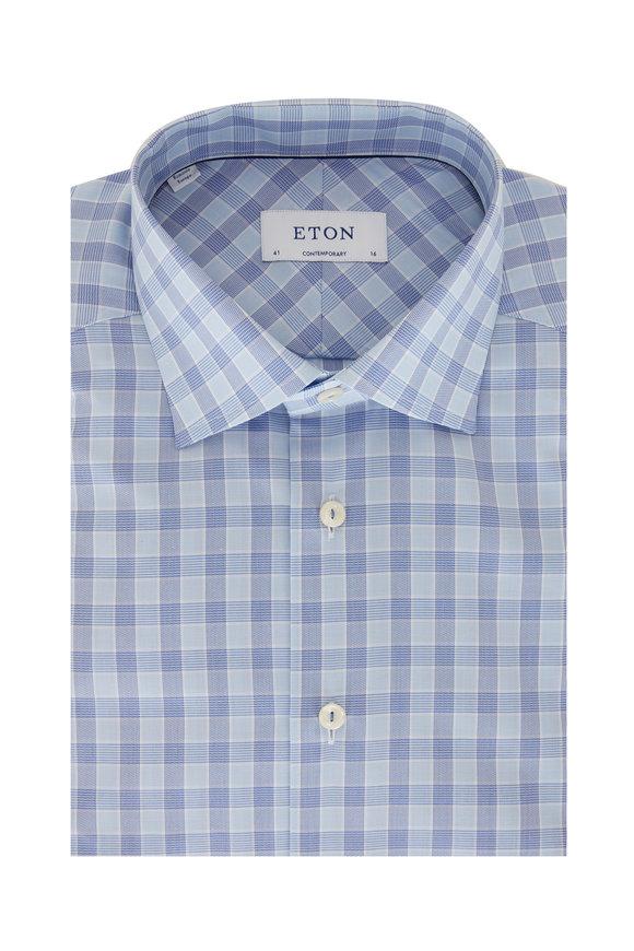 Eton Light Blue Check Contemporary Fit Sport Shirt