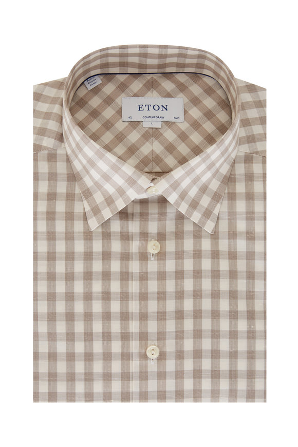 Eton Taupe Gingham Contemporary Fit Sport Shirt