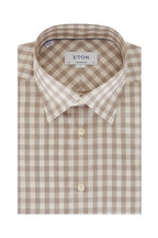 Eton - Taupe Gingham Contemporary Fit Sport Shirt