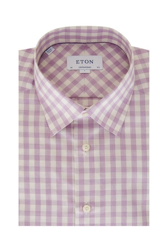 Eton Lavender Gingham Contemporary Fit Sport Shirt