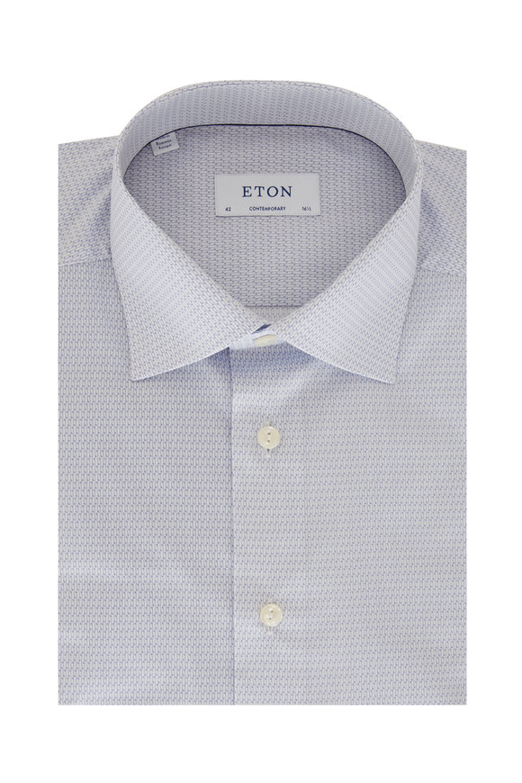 Eton Periwinkle Music Note Print Stretch Sport Shirt