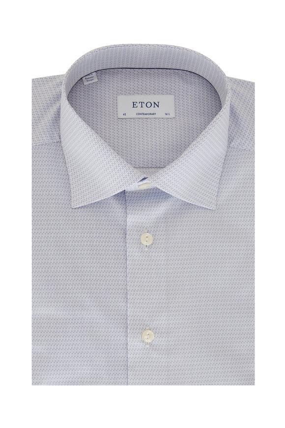 Eton Periwinkle Music Note Print Stretch Sport Shirt