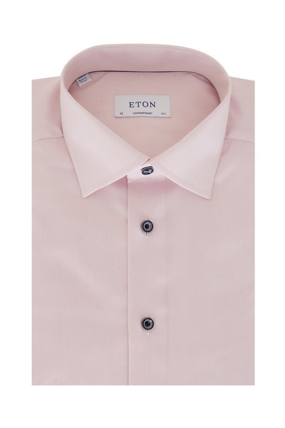 Eton Pink Fine Striped Contemporary Fit Dress Shirt