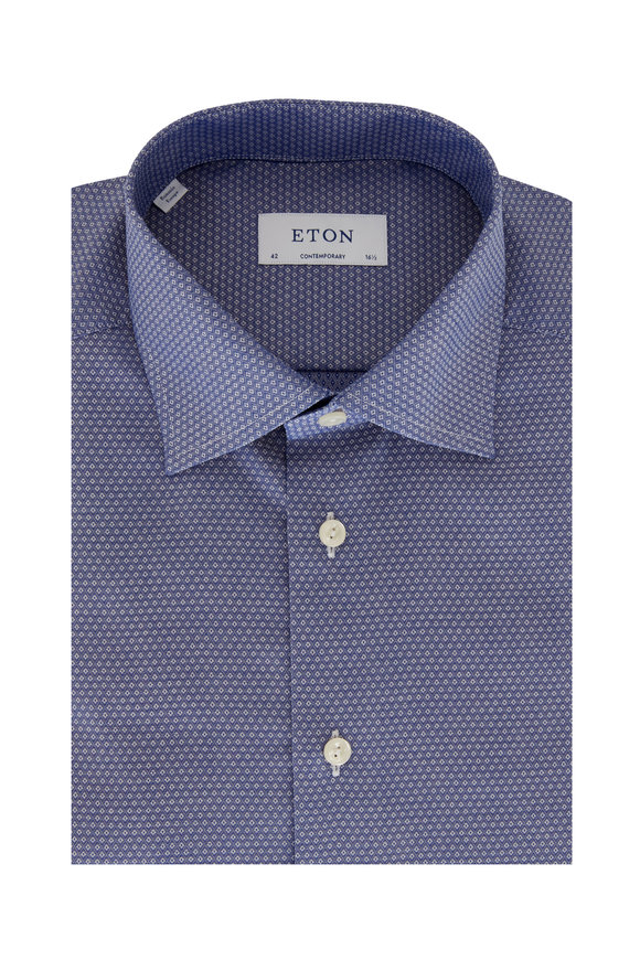 Eton Blue Diamond Weave Contemporary Fit Sport Shirt